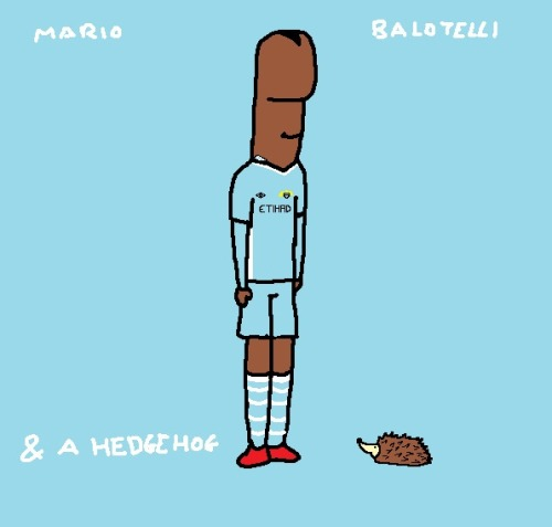 Mario Balotelli with a hedgehog.