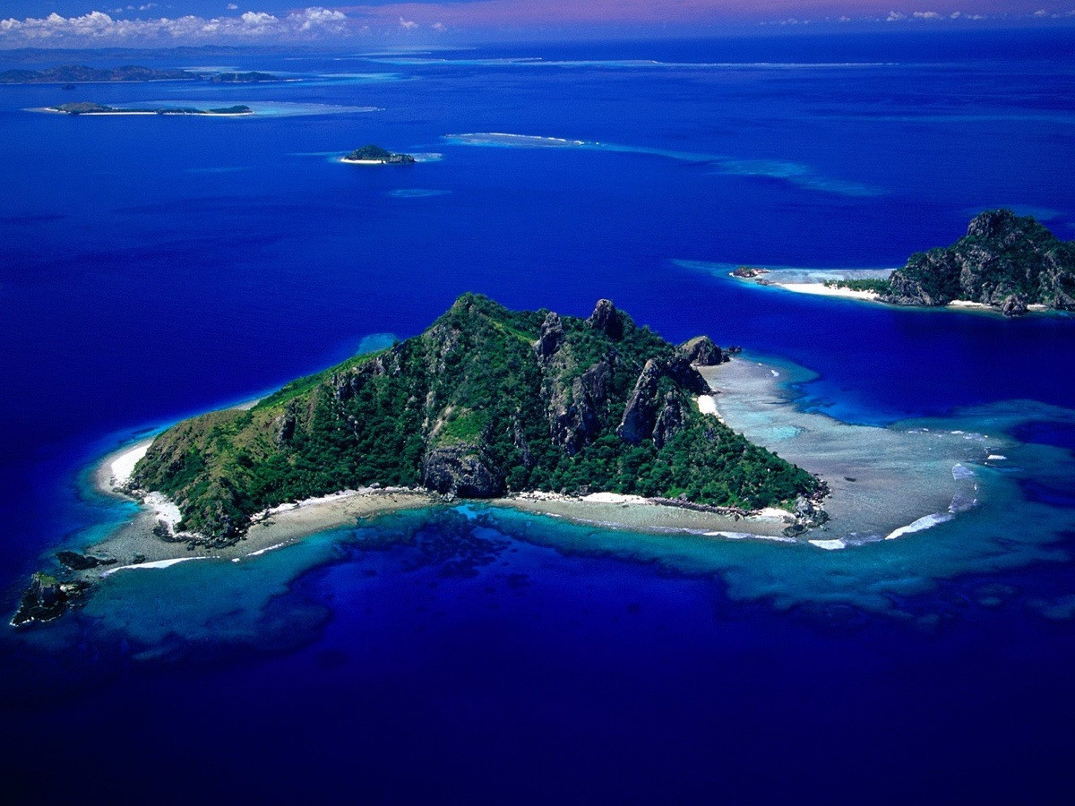 Cluster of little islands in Fiji