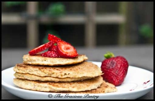 muffintop-less:  Clean Eating Quinoa Pancakes(Makes 4 pancakes)  Ingredients 1-1/2 cup cooked quinoa 2 whole eggs 2 egg whites Directions Step 1 – In a large mixing bowl, combine the cooked quinoa, eggs and egg whites. Whisk until smooth and creamy. Step 2 – Mist a non-stick pan with oil and cook as you would any pancake. Do NOT cook these on high heat. The outsides will burn and the insides will still be raw. Use medium heat and cook for a little longer until golden brown. Step 3 – Top with any clean topping such as fruit, honey or maple syrup. NOTE: Do not cook these on high heat. Lower the heat and cook them for longer otherwise you'll end up with a pancake that is burnt on the outside and raw on the inside. By The Gracious Pantry