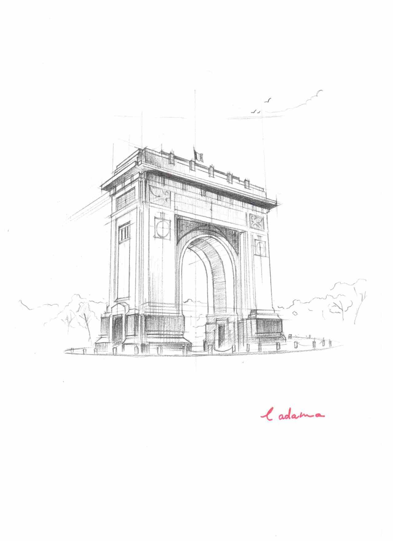 Arch of Triumf, Bucharest, Romania. Pencil sketch on 120g/mp A4 paper.