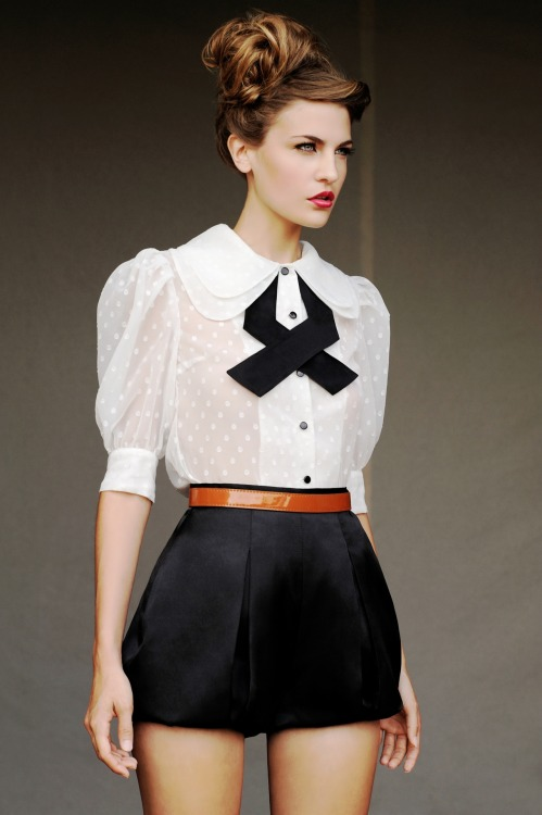 New York based designer Julianna Bass makes the bow tie blouse with silk shorts a sophisticated choice for the young professional this spring. Enjoy other fashion finds from Cotton Candy by clicking the photo loves. CottonCandyMag.com