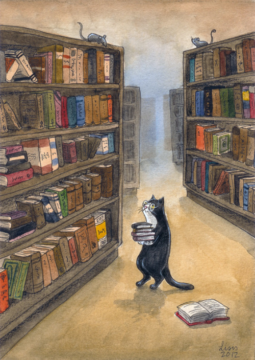 embracebooks:  (via Kitty Librarian by ~liselotte-eriksson on deviantART)    for some reason this makes me feel really warm and safe