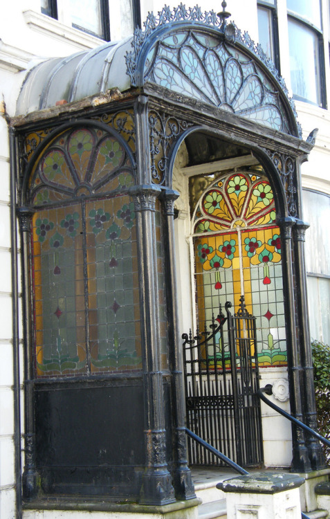 Art Nouveau stained glass porch, Brighton.