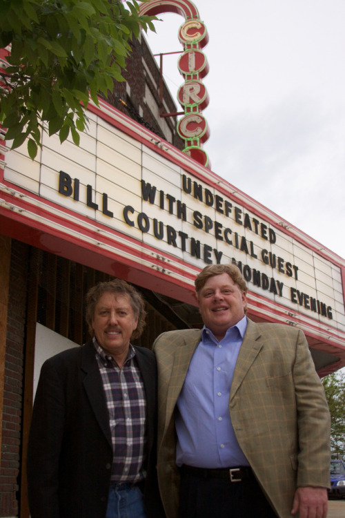 Coach Bill Courtney and Circle Cinema Founder Clark Wiens at Circle Cinema. Tulsa, OK