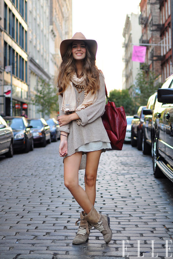 elle:  Street Chic: New York Clara wears a Brandy Melville sweater and shorts, All Saints shoes, Forever 21 hat, and Bimba Y Lola bag.  Photo: Adam Katz Sinding/Le 21ème Arrondissement