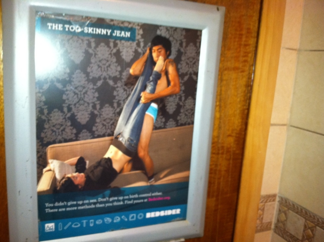 "Our ""Skinny Jeans"" Bedsider poster was spotted at Locust Bar in Philly! Kinda makes us want to go have a drink there…"