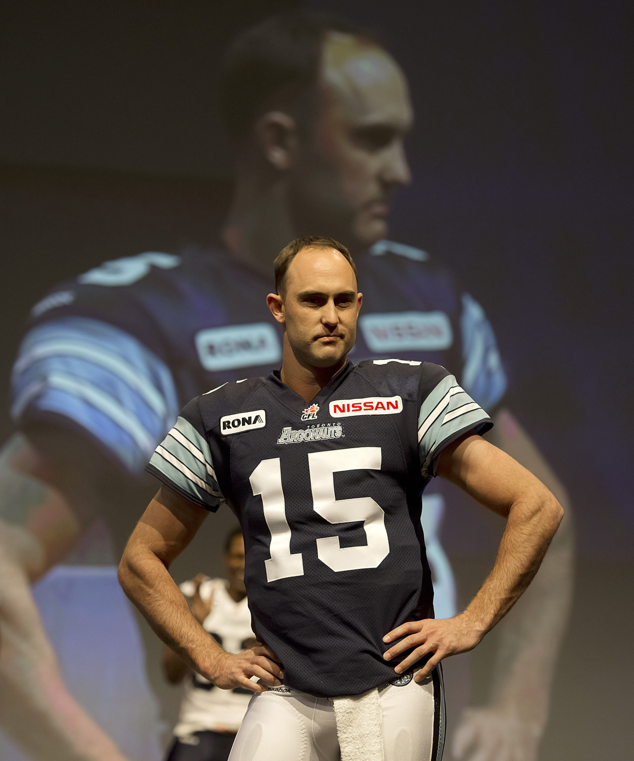 nationalpostsports:  Argos too sexy for their shirts: Quarterback Ricky Ray does a turn on the catwalk to show off Toronto's new unifoms at the Metro Toronto Convention Centre. The CFL West will unveil their new look on Wednesday for the 2012 season. (Photo: Peter J. Thompson/National Post)