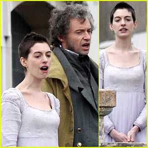 Anne Hathaway / Hugh Jackman on the set of the new Les Miserables movie. Excitement.