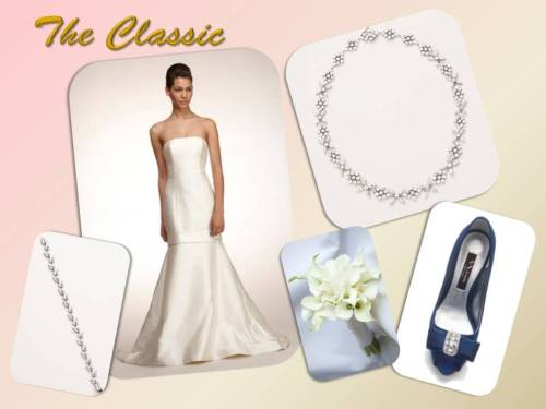 The Classic is the bride who has a refined taste with a timeless feel. Get this look with a strapless ivory satin trumpet gown paired with a crystal necklace to accentuate the decollete. Add a pop of color for a modern twist with a  crystal embellished blue pump.  Dress: Amsale Kara $1,475.00 Aisle $4,500.00 Retail Necklace: Nina Kylene $135.00 Aisle Bracelet: Nina Silvana $95.00 Aisle Shoe: Nina Elke Pump in True Blue $99.00 Aisle Shop this look now! On www.theaislenewyork.com