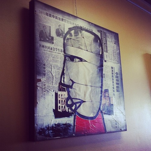 New work hanging at OZO coffee. #mixedmedia #ozocoffee #trevorbittinger #mixedmedia #boulder  (Taken with Instagram at Ozo Coffee)
