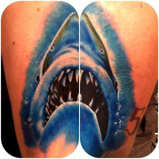 The Start of my Jaws half sleeve Done by Mike Johnston of Sin Alley Tattoo in Pawtucket, RI.
