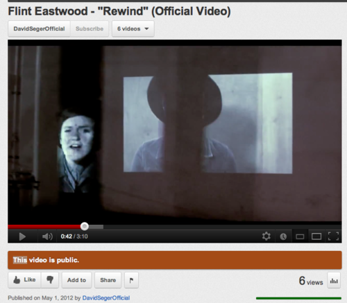 "Check out this awesome music video directed by my good friend Dave!  My other buddies are also in the video.  Enjoy!!! :o)  davidseger:  Flint Eastwood - ""Rewind"" (Official Video) Hey guys, I made another no-budget music video. Check it out. If you think of it, click it to 720 HD and wait for it to load. The 360p looks pretty crusty and it bums me out."