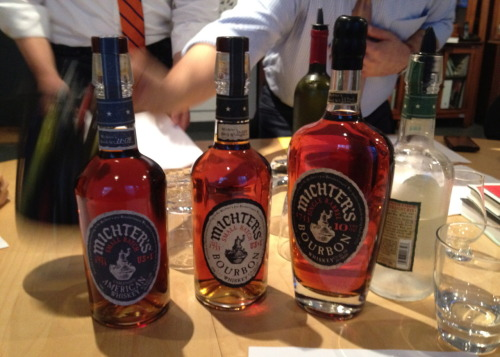 This week's Tuesday AWBAR tasting took on a trio from Michter's: Small Batch American Whiskey (83.4 proof), Small Batch Bourbon (91.4 proof), and 10 YO Bourbon (94.4 proof). Michter's makes exceptional whiskies and everyone had a lot to say about these three. In particular, the Small Batch American was extremely aromatic and the flavor profile was huge. Rich, complex, and crowd-pleasing. Every week won't be as good as this one, but we soldier on…only 160 or so more bottles to go.
