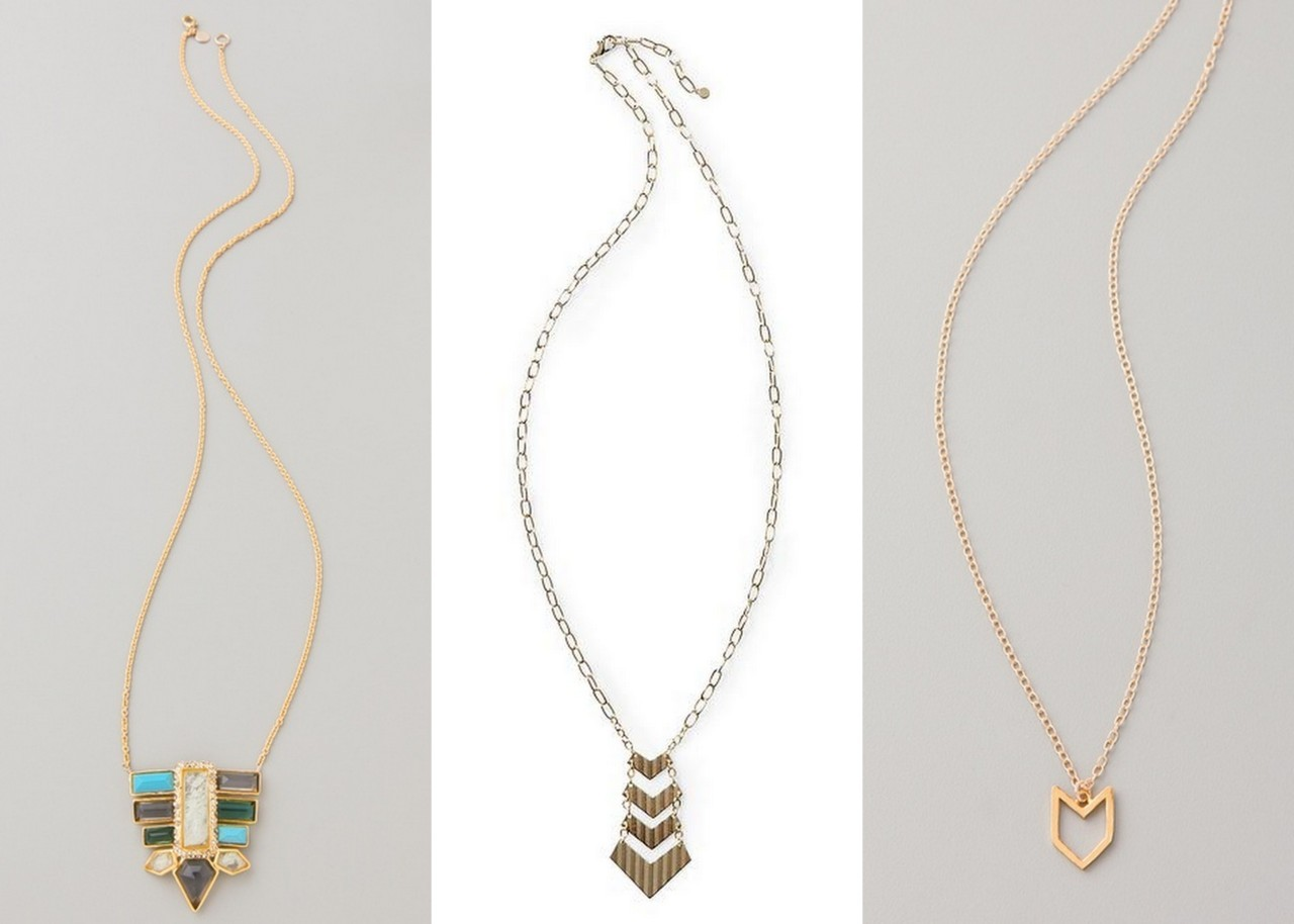 Alexis Bittar Stone Pendant ($295) | Tinley Road Long Chevron ($28) | Gorjana Chevron ($98) via emphasisadded