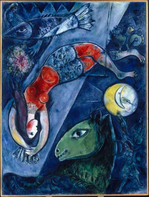Marc Chagall, Blue Circus I love your poem. Kinda makes me feel like this. I'll be the donkey/horse. You can be the acrobat with the ruby boobies. Blondy