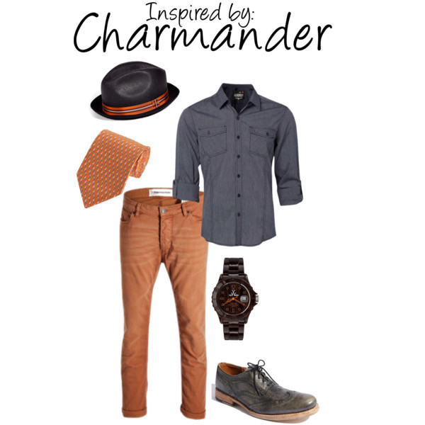Charmander (Pokèmon) by ladysnip3r featuring a striped hat This outfit is inspired by the Pokèmon Charmander. I chose a more neutral grey palette to compliment the bright orange accents in this outfit. Now orange jeans may seem a little intense to some of you, but I can promise that colored jeans are not just for girls. I'd recommend wearing them with more neutral tops, such as grey and white (Stay away from black - you might look like you belong on Halloween). (Reference Image)