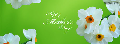 Happy Mothers Day White Flowers Facebook Cover