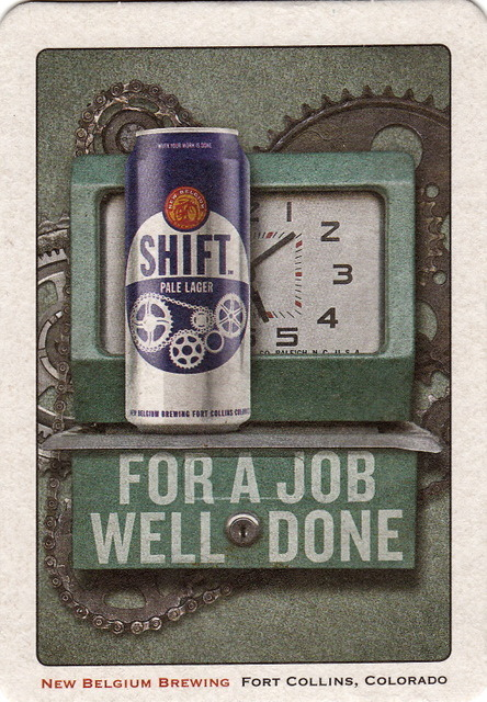 Shift Pale Lager by New Belgium Brewing of Fort Collins, Colorado | sent to Tahoe City, California, May 2012