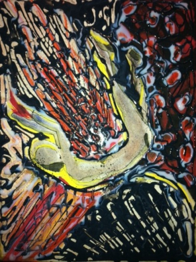 """Lake of Fire"" Acrylic, glue, india ink, pencil on canvas"