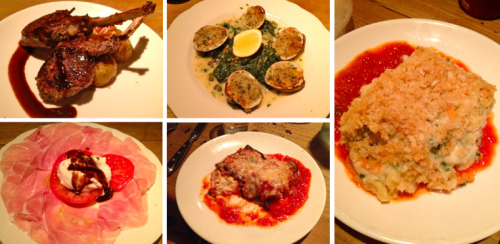 "For my mom's final dinner in New York, we continued our ""small plates"" tour de force with a meal at my favorite little Italian spot, Aria (see past review here). Everything was so delicious, per usual, so much so that we weren't able to decide which plate was our most or least favorite - they were all exceptional! Clockwise from top left: Lamb chops Clams and spinach Vegetarian lasagna Eggplant wrapped goat cheese Buratta with prosciutto di parma and tomatoes"