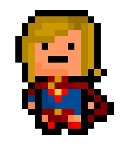 "Supergirl, the last daughter of Krypton and cousin to Superman, now rendered in a super tiny 15 x 19 pixel resolution based on her ""New 52"" Reboot.  Requested by: http://sassmastershinekillr.tumblr.com"