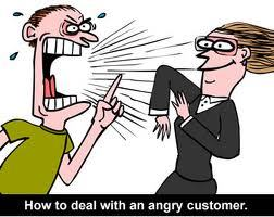 "Ways to deal with angry people?  I've got a few. 1.  Kill them with kindness or,  ""The bitch in reverse"" ! I know, I know, how do you smile at someone who is acting just plain old nasty?  It sucks, but it works.  The nicer you are, the dumber they feel.  Don't turn away, it works I promise!  They can complain about their food, their table, the weather, the fact that they can't fit into their pants, WHATEVER!  But, they cannot complain about you not being hospitable.  It's a hard thing to do, and trust me, when someone is yelling in my face if I cannot seat them without the rest of their party, all I want to do is tell them to leave me the fuck alone and hope they spill red wine all over their already-too-tight-white dress. (Am I judging?) Just translate what you are thinking in your head to being overtly nice and hospitable.  Turn the bitch around.  (Also Gloria Estefan's latest hit) 2.  Say something, question it! Sometimes the angry people don't show it until AFTER their meal.  I hate this!  How can we fix something that is bothering you if you don't say something?  We check back with tables, we check back with guests ALL NIGHT LONG.  So there really shouldn't be a reason to hold back unless you're just looking for free shit.  UGH. And you KNOW people love to do this just for free shit.  Honestly, if I see something is not looking right, if a guest isn't eating their meal, if they LOOK unhappy, I ask what's wrong?  I assume something isn't right.  Let's just hope they're not in the middle of a divorce conversation. 3. Juuuuuust Breathe.  Don't take things personally. In the words of Anna Nalick (ok I did actually have to look up who sings that song) JUUUUST BREATHE!  This is most likely not your career.  You know how doctors need to go through years and years of school just to get their degree?  These are our years of school.  Our years of struggle, of learning, of trying new things, of not feeling like you're at the top of your game.  It sucks most of the time, and you spend a lot of nights ""rethinking your life"" but know that YOU'RE NOT ALONE.  Whether you're an actor, comedian, dancer, painter, or have no idea what you 'wanna be when you grow up', that's OK.  Sometimes you don't even realize how much you learn at a restaurant.  Do NOT let these Angry People GET TO YOU!  Don't take it personally.  Forget them, and breathe!!  Life's a bitch, but we'll all get to where we wanna be one day.  ***THIS IS THE MOST POSITIVE I'VE BEEN IN A LONG TIME***BECAUSE I TOO STILL WORK IN A RESTAURANT***AMEN. 4. Karma's a bitch.  REMEMBER THAT! I saw a woman tumble down 2 flights of stairs.  I like to think Karma got her GOOD.  She was drunk, she was rude to me at the front door, rude to the server, rude to the backwaiter…etc.  And in the end?  She got served a fucking fall that looked like something Jackie Chan does in action movies.  It was awesome/scary, but it goes to show- keep your cool, karma will take care of the rest. 5. Eat a Reeses! Seriously.  Unless you have a peanut allergy (because we all know how prevalent they are now!!!).  Around 11pm on a busy night after being yelled at and scorned by numerous angry people, there is nothing better than stuffing my face full of chocolate.  Reeses in particular.  Spare the calories and give yourself a damn good treat!  It helps, I promise. You can do it.  Smile at an angry person at your shift today and you'll feel a little better inside. Xoxo, the Door Bitch."