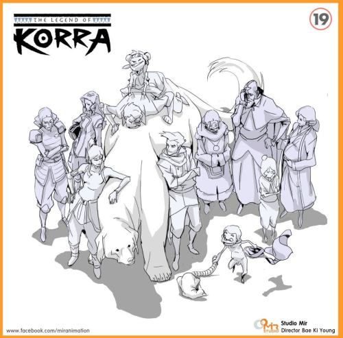 alxaxle:  drawn by one of the directors of Legend of Korra click-thru to Studio Mir's Facebook page, where there's more cool art like this and interesting behind-the-scenes type stuff!  Naked!Meelo! Poor Bolin! Is Asami jealous?!