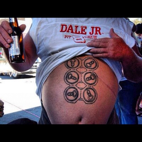 I'm going to make an educated guess and say he's a redneck.. 🍻🚗🏁🇺🇸 #sixpack #nascar #redneck #tattoo (Taken with instagram)
