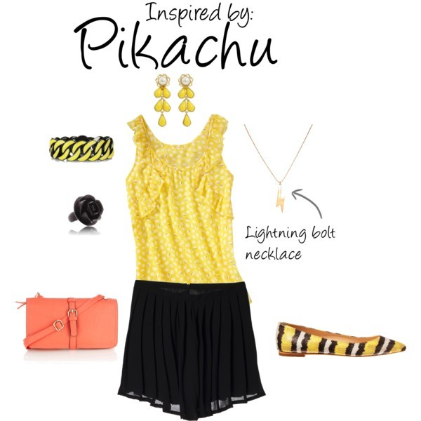 Pikachu (Pokèmon) by ladysnip3r featuring snakeskin flats This outfit is the last of our Pokèmon themed day and is inpsired by the infamous Pikachu. I think my favorite part of this outfit is the contrast between the black and the yellow, it just looks super cute (That, and the lightning bolt necklace). This outfit can be dressed up or dressed down really easily by swapping out the accessories. (Reference Image)