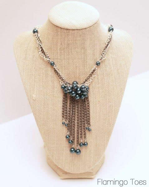 DIY Chains with Fringe and Pearls Necklace. I love Flamingo Toes' tutorials because she has wonderful instructions and breaks things down so they seem pretty easy. Tutorial from Flamingo Toes here.