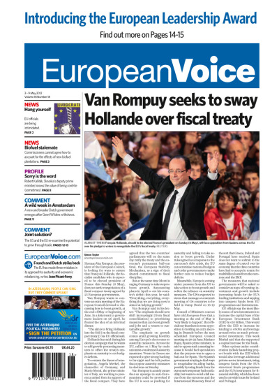 Tomorrow's front page today. Cover article: Van Rompuy seeks to sway Hollande over fiscal treaty