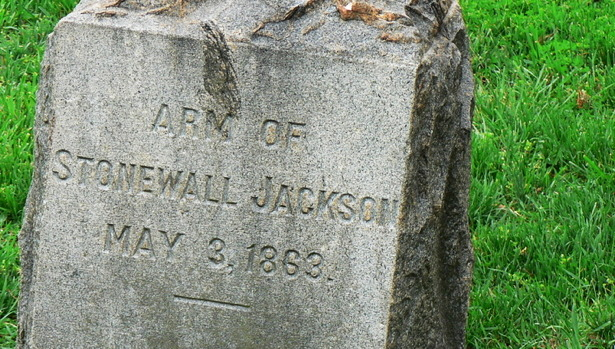 "Stonewall Jackson's Arm Lies Here (And Has for 149 Years)  On this week in 1863, the celebrated Confederate General Thomas ""Stonewall"" Jackson was returning from a nighttime reconnaissance ride near Chancellorsville, Virginia, when he was mistakenly shot by his own camp's picket guards. On May 2, Jackson's wounded arm was amputated; Jackson's chaplain, Beverley Tucker Lacy, buried it the next day in a nearby family graveyard. Seemingly on the mend, Stonewall Jackson was removed far behind the battle lines to recuperate at Fairfield Plantation, but his condition soon worsened. Stonewall Jackson died eight days later, on May 10, 1863, of pneumonia. General Robert E. Lee assessed the gravity of the situation for himself and the army when he first heard of Jackson's amputation. ""William,"" Lee declared to his cook, ""I have lost my right arm. I'm bleeding at the heart."" The spot where Jackson was shot is marked today by a large boulder, just behind the Chancellorsville battlefield visitor center, and the outbuilding at Fairfield plantation where Jackson died is known to this day as the Stonewall Jackson Shrine. His lost limb is buried in a graveyard off the main Chancellorsville battlefield, at what was then Ellwood Plantation. Among the unmarked graves of men and women, mothers and sons, there is one monument—to an arm. Read more. [Image: U.S. Park Service]"