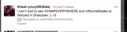 Guys. Vampires Everywhere! retweeted me. OMFG I'M GONNA DIE OF HAPPINESS<3