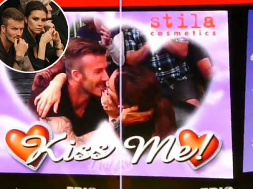 Victoria & David Beckham caught on Kiss Cam! Click here for more pics.