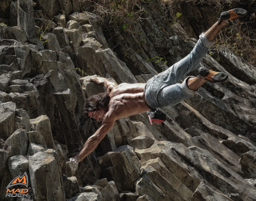 César Melendez, world class rock climber from Boquete, Panama performing the Human Flag at Los Ladrillos. I amped it up in Photoshop to get this gritty look.