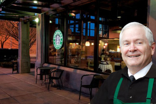 Former Secretary of Defense Robert Gates is Starbucks' newest barista! We jest. Today, Starbucks announced that Gates joined the company's board, and will serve on its nominating and corporate governance committee. Gates was appointed Secretary of Defense by George W. Bush in 2006, and retired in 2011 after just under three years with the Obama Administration. Prior to joining the Starbucks board, Gates was acting as chancellor for the College of William & Mary, his alma mater. (SFB illustration) source Follow ShortFormBlog: Tumblr, Twitter, Facebook