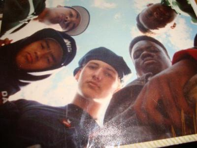 "Equipto, P-Whaley and White Mic, later of Bored Stiff, with San Quinn and Dehani, circa 1989. They were all in a crew together called ""X Legion""."