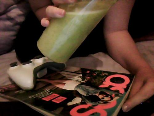 Asos magazine, Pear, orange and Cucumber smoothie, Xbox and my Graze box of yumminess.  I brought a wireless adapter today and I'll get Xbox live again tomorrow I think.I miss WoW :(I can't afford Gym, Wow and Xbox!
