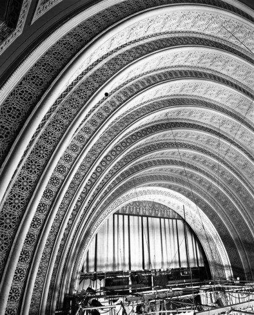 Arches of the proscenium at Adler and Sullivan's Garrick Theater (64 W Randolph), c.1950's, Chicago. Photo by Richard Nickel. Demolished in 1960 and replaced with a parking lot…