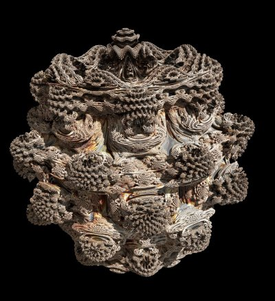 crookedindifference:  Three-dimensional fractal (mandelbulb) of power 9 created by Visions of Chaos program