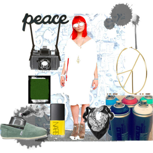 inspiration board by loco-coco featuring peace sign hoop earringsNicole Miller babydoll dress, $120TOMS green shoes, $54ASOS knot jewelry, $27ASOS peace sign hoop earrings, $15McQ by Alexander McQueen black shawl, $151NARS Cosmetics nail lacquer, £14graffiti spray can spraycan spraying a black mist Stock, $250Amazon.com: Wood Sign Decor for Home or Business Word: PEACE: Home &…, $23