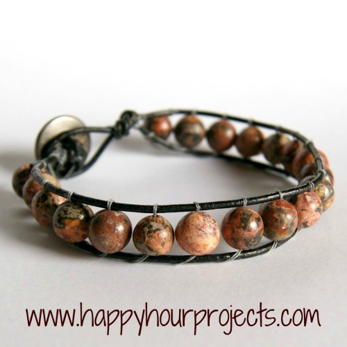 "DIY Bead and Leather Bracelet with a Button Closure. If you've found the instructions for this bracelet to be vague or not understandable on other blogs, check out this really clear and easy tutorial from Happy Hour Projects here. *I noticed she used ""Bead Gallery"" Beads. You can get these at Michaels ridiculously cheap with a 40% coupon or they always seem to be on sale."