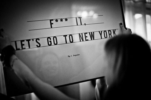 bluprint:  Just F*** and Let's Go To New York ( poster by Antoine Tesquier Tedeschi ) (by Hu2 Design & Art)