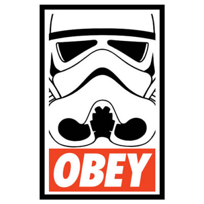 """OBEY Storm Trooper"" by Royal Bros Art. Because you should always obey an armed Imperial Stormtrooper…unless of course you can use Jedi mind tricks on them.