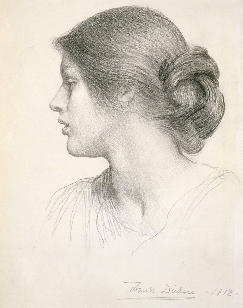 Frank Dicksee (Sir Francis Bernard Dicksee) Drawing of a girl 1912 -love the fleeting quality of unblent lines, as soon as the semester ends I'll do a copy of this one.