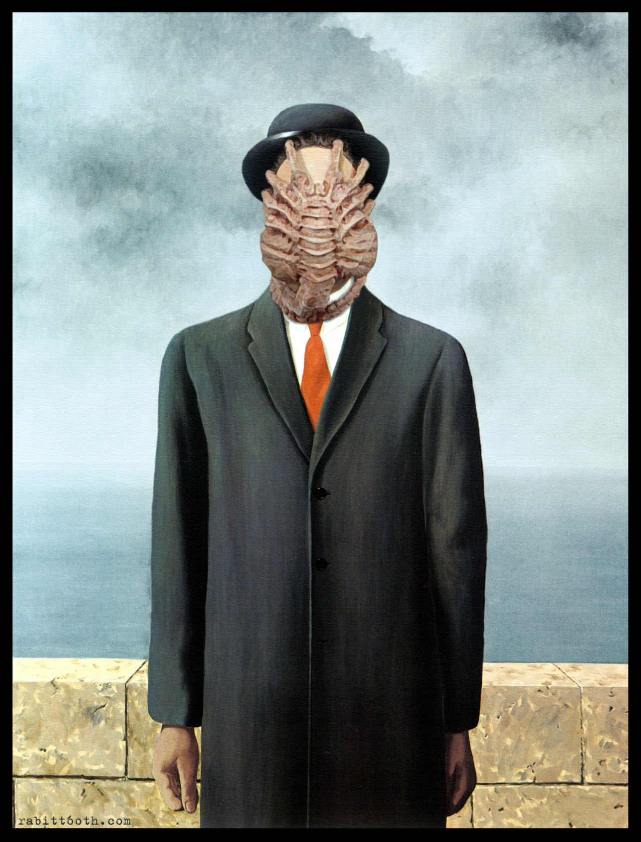 "shoppedscifi:  So I was looking at René Magritte's famous ""The Son of Man"" and I thought…. needs more Giger.  (Submitted by Rabittooth)"