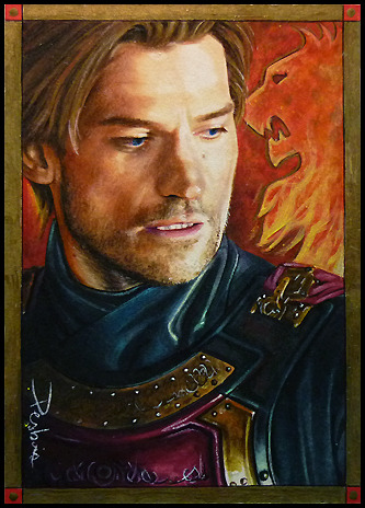 Jaime Lannister by David Desbois, www.daviddeb.deviantart.com watercolor pencil blended in marker, multiliner, oil painted enhancement in background for the sigil and borders (gold) 2.5*3.5 inch personal sketch card