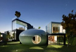 architizer:  Jeju Cocoon House parametric modernism plus 1950's sci-fi.