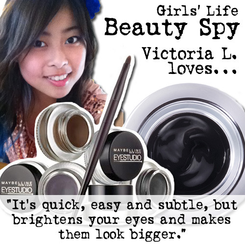 Want dramatic eyes? Beauty Spy babe Victoria L.'s pick for big eyes is Maybelline New York's EyeStudio Lasting Drama Gel Eyeliner in Blackest Black. Yesss!