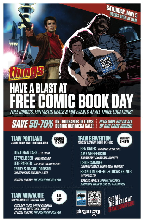 Things from Another World in Portland is having a Free Comic Book Day event with Steve Lieber and Jeff Parker (UNDERGROUND)!  And TFAW in Beaverton will have Brandon Seifert and Lukas Ketner (WITCH DOCTOR) at their store for FCBD!